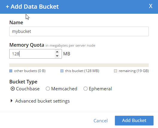 Add new bucket - no authentication options anymore