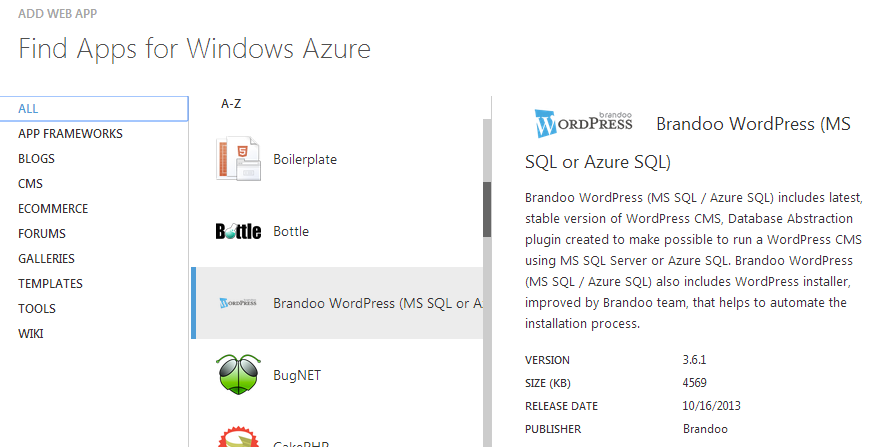Brandoo WordPress in the Azure Gallery