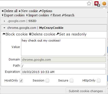 Edit This Cookie on the Google Chrome browser