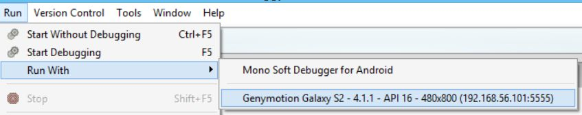 Xamarin Studio finds Genymotion just fine