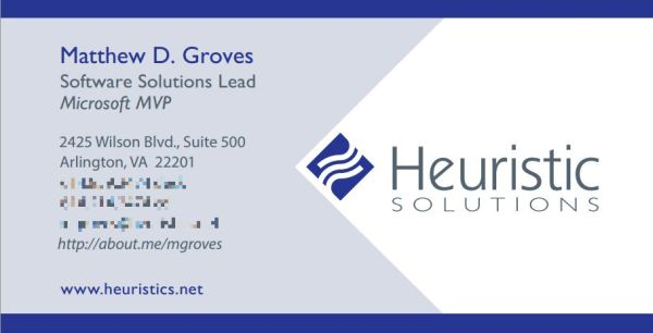 Matthew D. Groves Heuristic Solutions business card