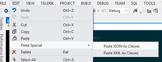 Paste JSON As Classes in Visual Studio