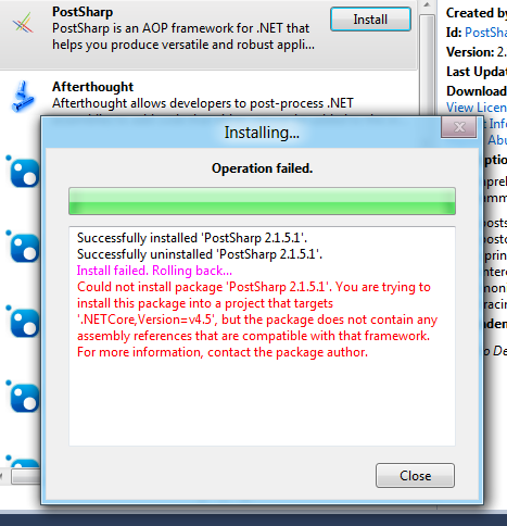NuGet fail in VS11