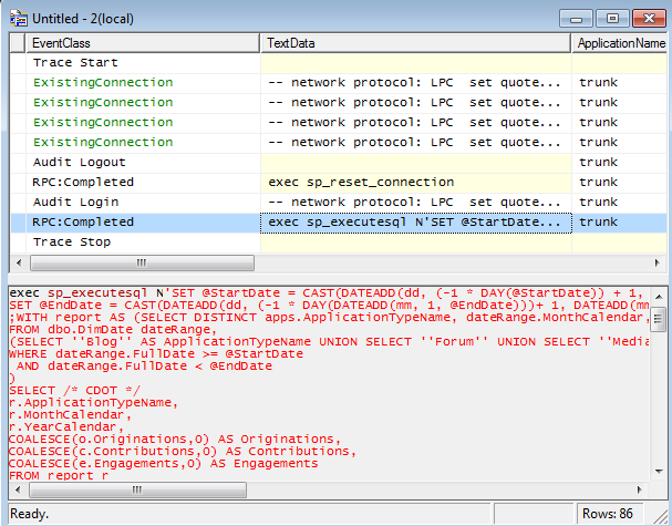 SQL Profiler Screenshot