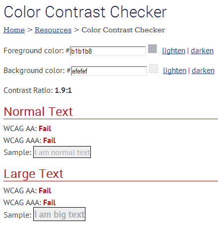 WebAIM's Color Contrast Checker showing a failure