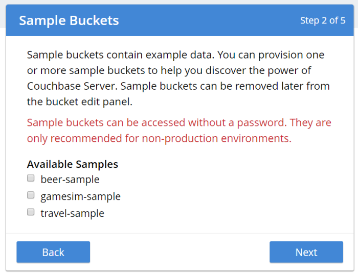 Loading an optional sample bucket into Couchbase Server