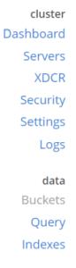 Couchbase Console Main UI navigation