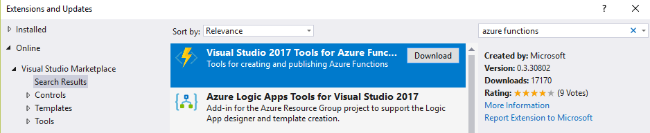 Azure Functions tool for Visual Studio