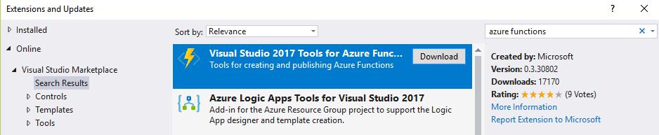 Azure Functions tool for Visual Studio