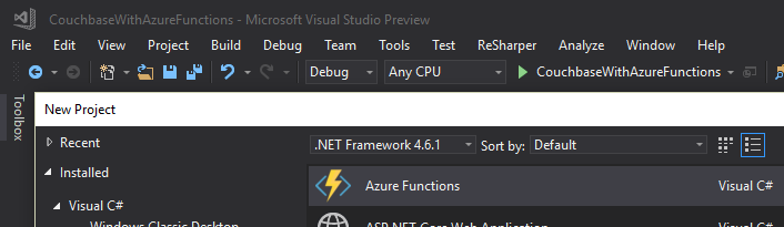New Azure Functions in Visual Studio