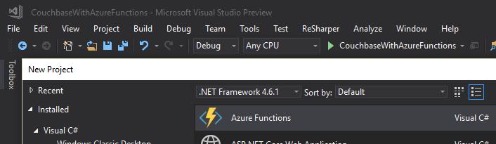 New Azure Functions in Visual Studio