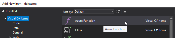Add Azure Function