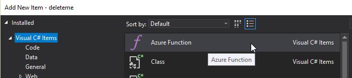 Add Azure Function