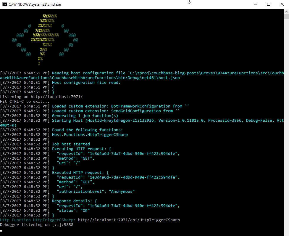 Azure Functions running locally