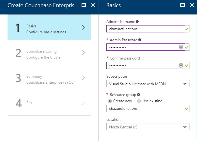 Create Couchbase Cluster step 1