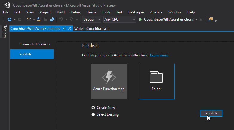 Publish Azure functions