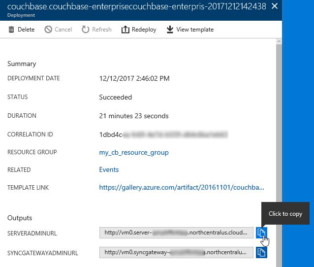 Azure deployment info