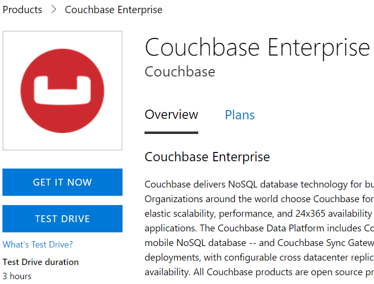 Couchbase Azure product page